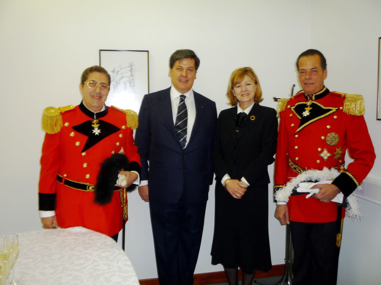 THE MINISTER COUNSELLOR WITH PRINCE MANFRED WINDISCH-GRAETZ AND THE CHIEF OF PROTOCOL